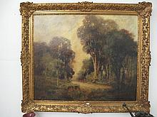 George Patterson 19thC oil canvas Landscape signed