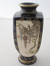 19thC Satsuma cobalt blue gilded vase signed to