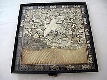 Framed antique Chinese silver crane rank badge