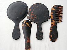 Antique four piece tortoiseshell dressing table