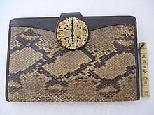 1920s ivory mounted snakeskin ladies purse with
