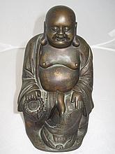 19thC Chinese bronzed metal seated Buddha 25cmH
