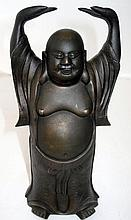 19thC Chinese bronzed metal figure of a standing