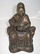 19thC Chinese bronzed metal seated scholar 26cmH
