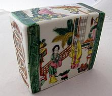 19thC Chinese famille rose porcelain wrist rest