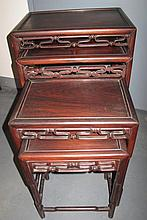 19thC Chinese rosewood nest of four tables 71.5cmH