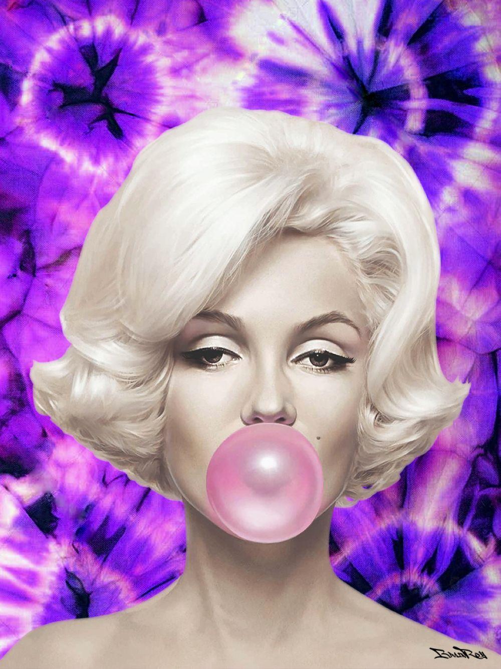 """BrainRoy (né en 1980) """"Marilyn Ballon, Tie and dye, Purple"""" Tableau plexi, numéroté sur 6. Encadrem"""