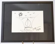 """Jeff Koons """"Boat"""" (né en 1955) Dessin original à l'encre noire sur papier. Signée et datée à la mai"""