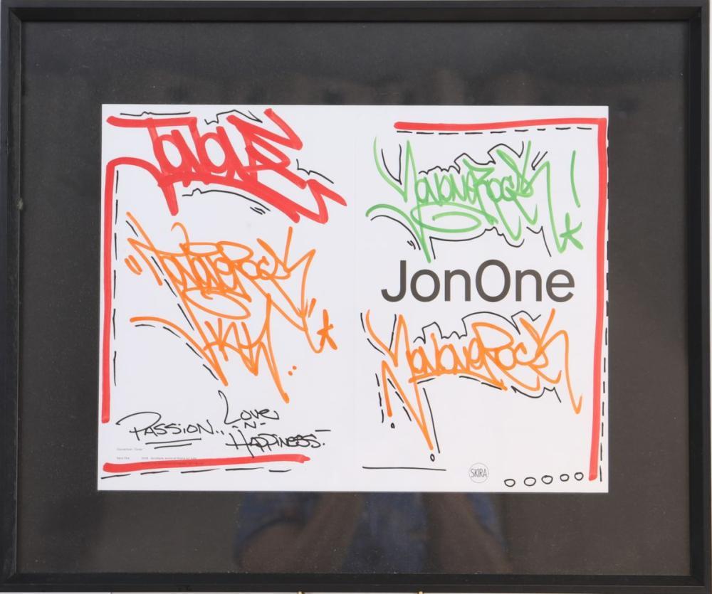"""JonOne (né en 1963) """"Passion, Love and Happiness"""" Dessin à l'acrylique rouge, orange, verte et noir"""