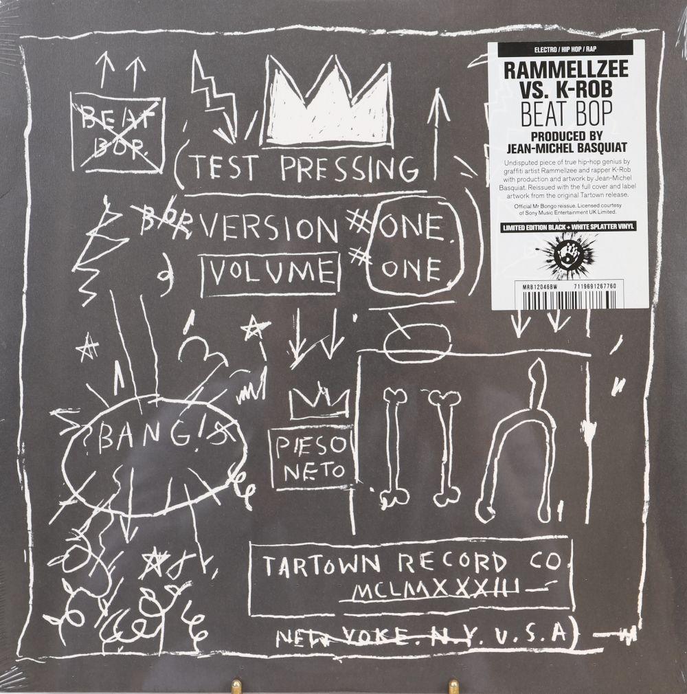 """Jean-Michel Basquiat (d'après) """"Rammelze and Krob/ Beat Bop"""" Sérigraphie sur pochette de vinyle et s"""