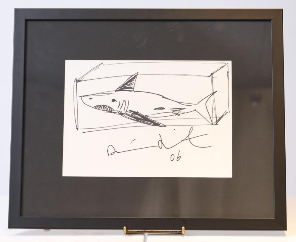 """Damien Hirst """"Shark"""" (né en 1965) Dessin original à l'encre noire sur papier. Signée à la main. Œu"""