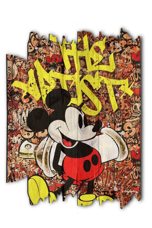 """Heydenboy """"Mickey Man"""" Tableau sur palette en bois traité vernis et imprimé. Oeuvre signée éditée s"""