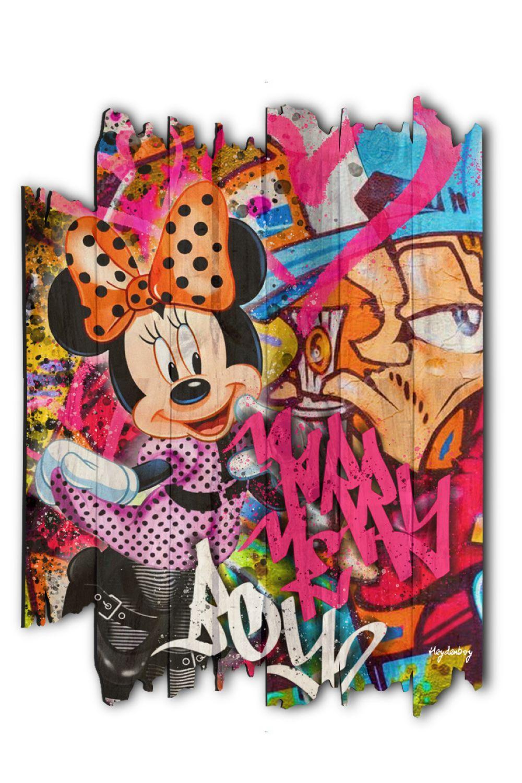 """Heydenboy """"Minnie Dance"""" Tableau sur palette en bois traité vernis et imprimé. Oeuvre signée éditée"""