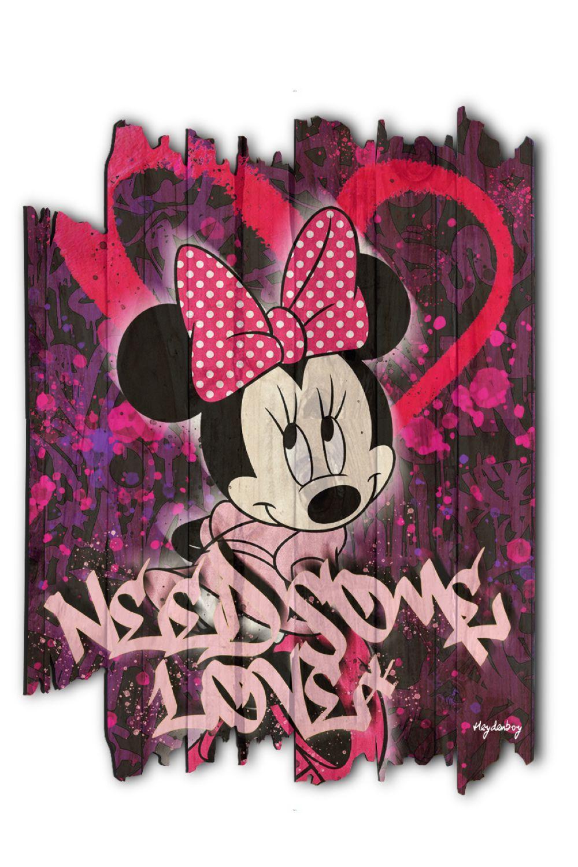 """Heydenboy """"Minnie Love"""" Tableau sur palette en bois traité vernis et imprimé. Oeuvre signée éditée"""