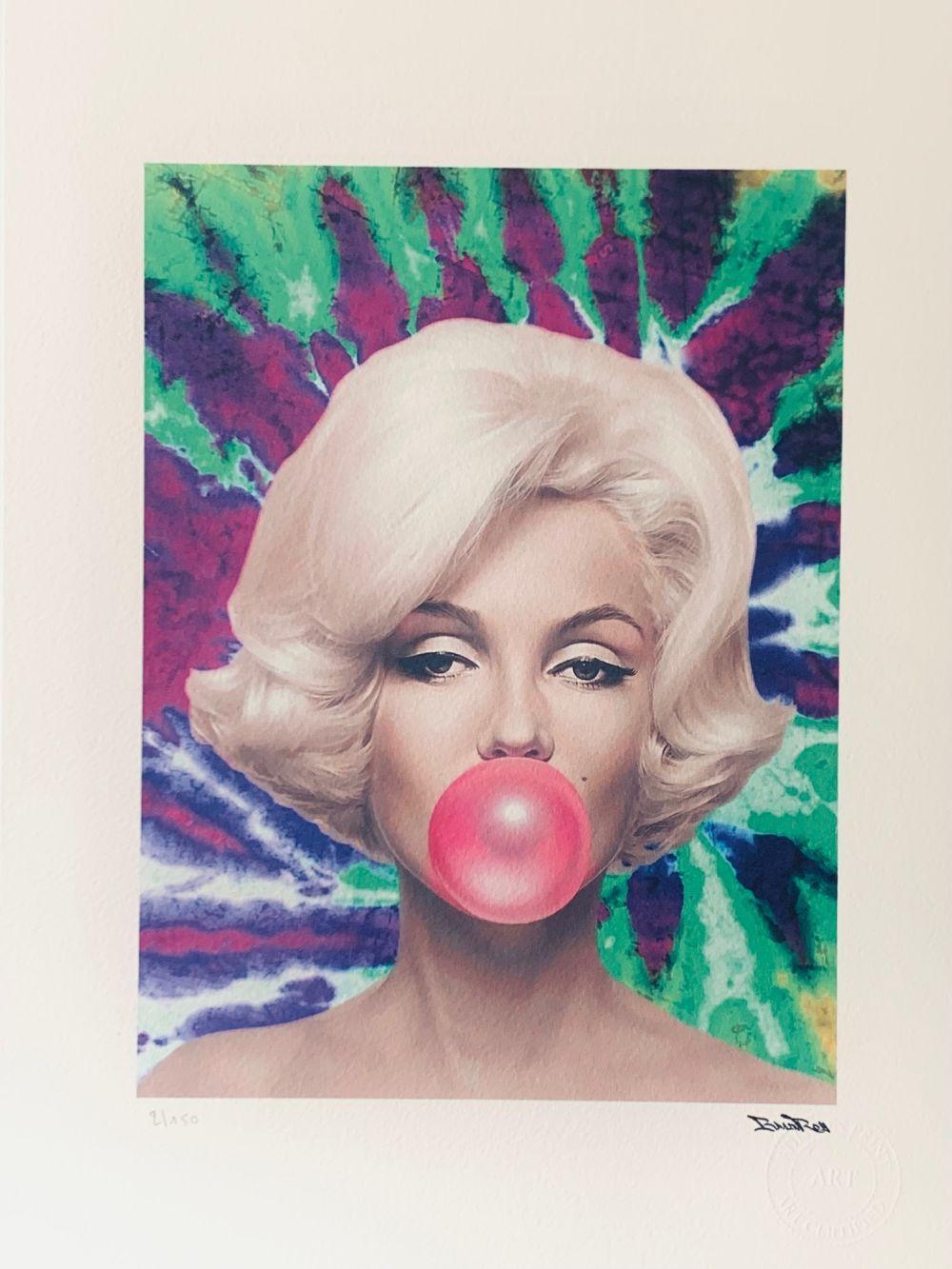 "BrainRoy (né en 1980) ""Marilyn Ballon, Tie and dye, Green and purple"" Lithographie polychrome numér"