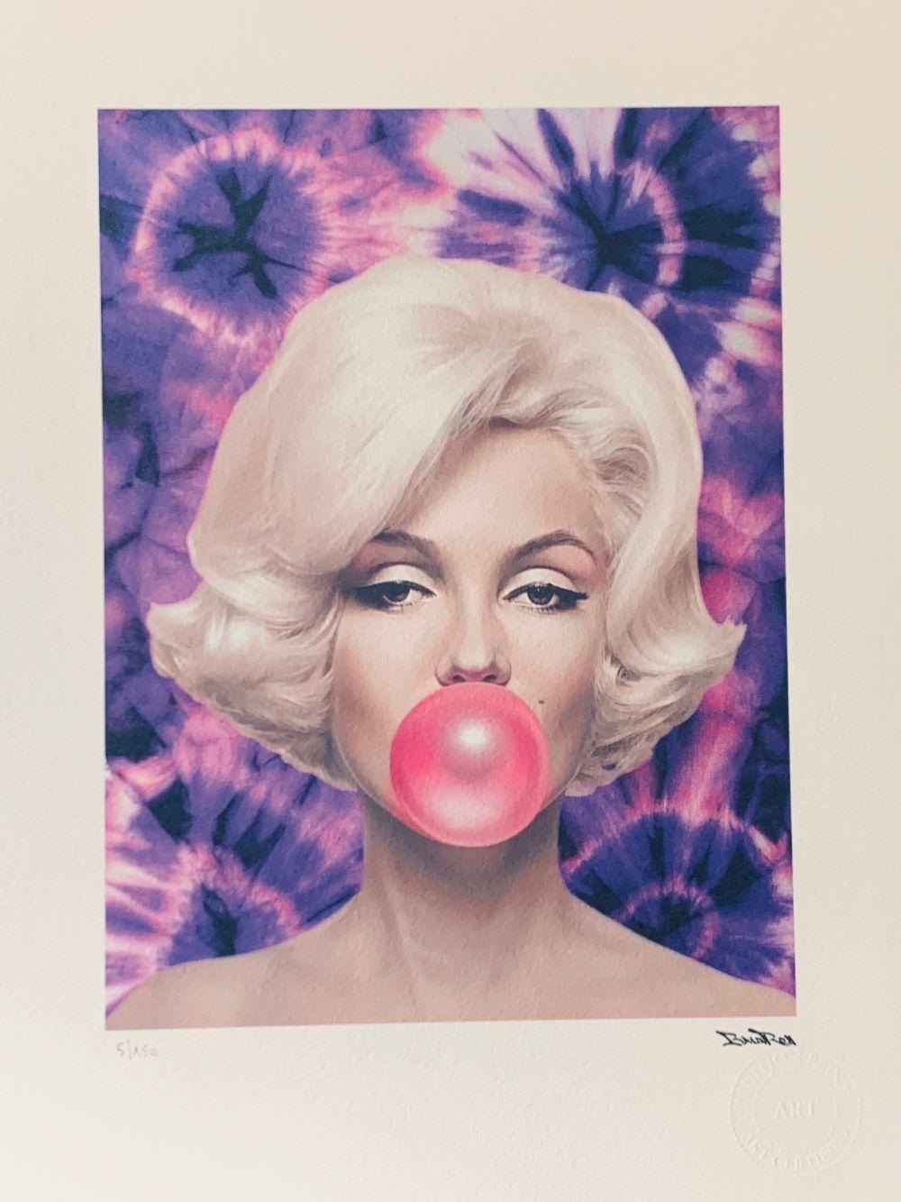 """BrainRoy (né en 1980) """"Marilyn Ballon, Tie and dye, Purple"""" Lithographie polychrome numérique, œuvr"""
