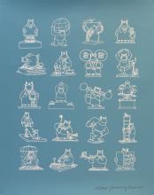 """Philippe Geluck (né en 1954) """"Les 20 statues"""" - Sérigraphie sur papier. Signé au crayon et numérotée"""