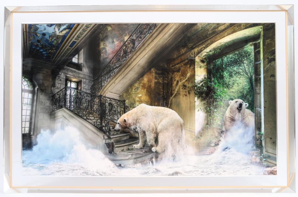 Pierre Chazelat (né en 1964) Montage photographique de mouvance surréaliste. Signé dans l'oeuvre. D