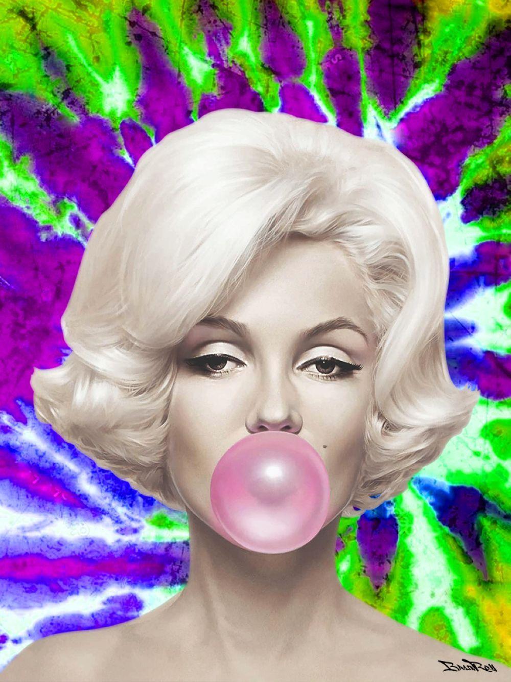 """BrainRoy (né en 1980) """"Marilyn Ballon, Tie and dye, Green and purple"""" Tableau plexi, numéroté sur 6"""