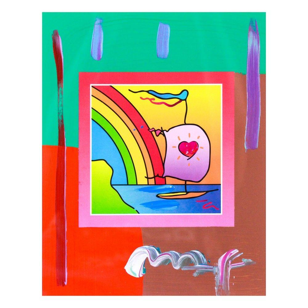 """Peter Max - """"Sailboat with Heart on Blends"""" - Signed"""