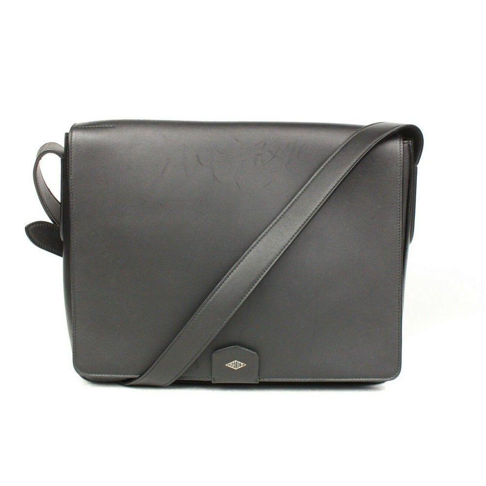 Cartier  2600 Black Leather Messenger Bag Unisex Louis