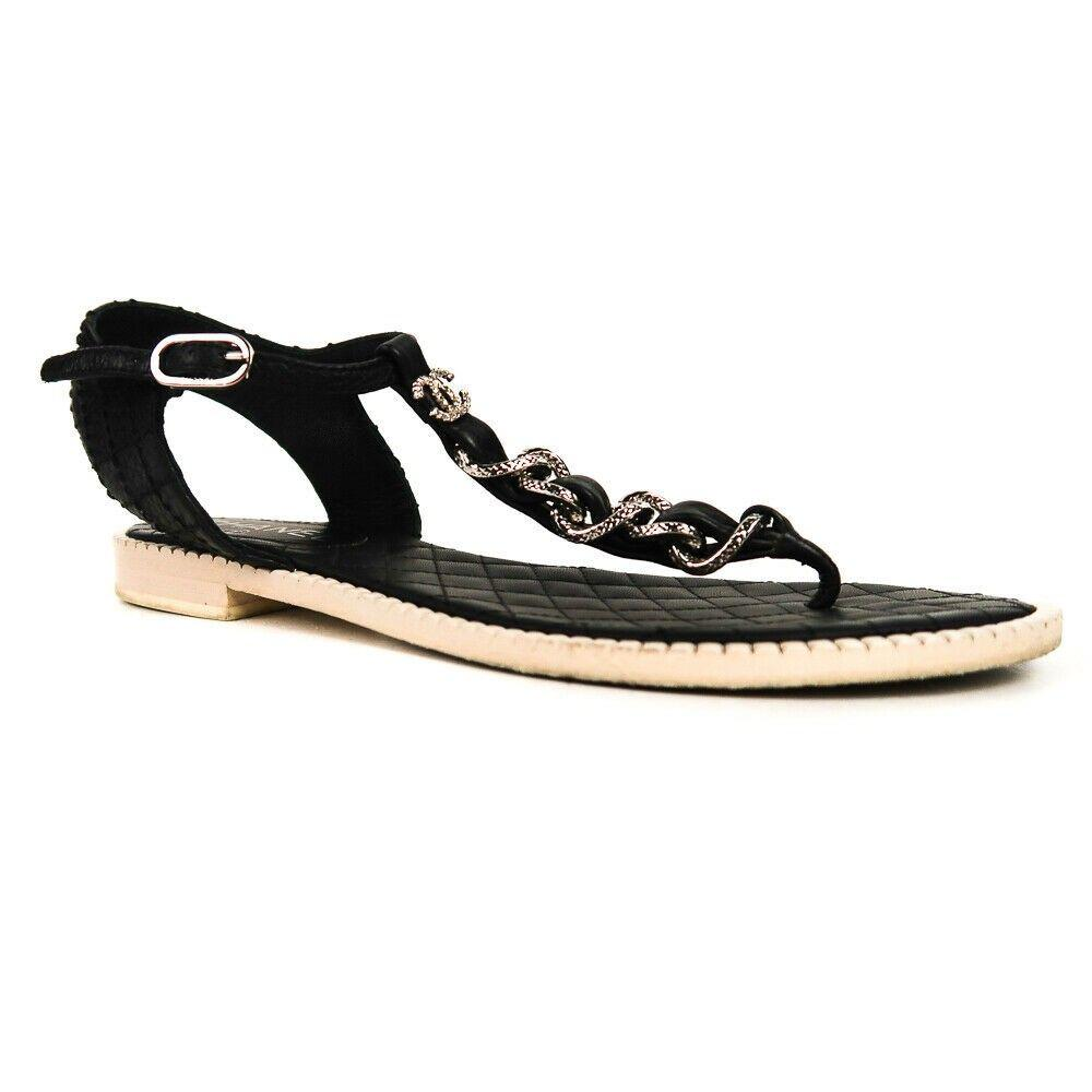 Chanel - Chain Sandals - Black Leather T-Strap CC Logo