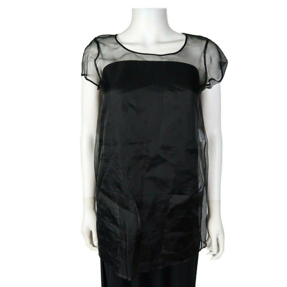 Chanel - Black Sheer Tunic Top - 2 Pockets - CC Logo -