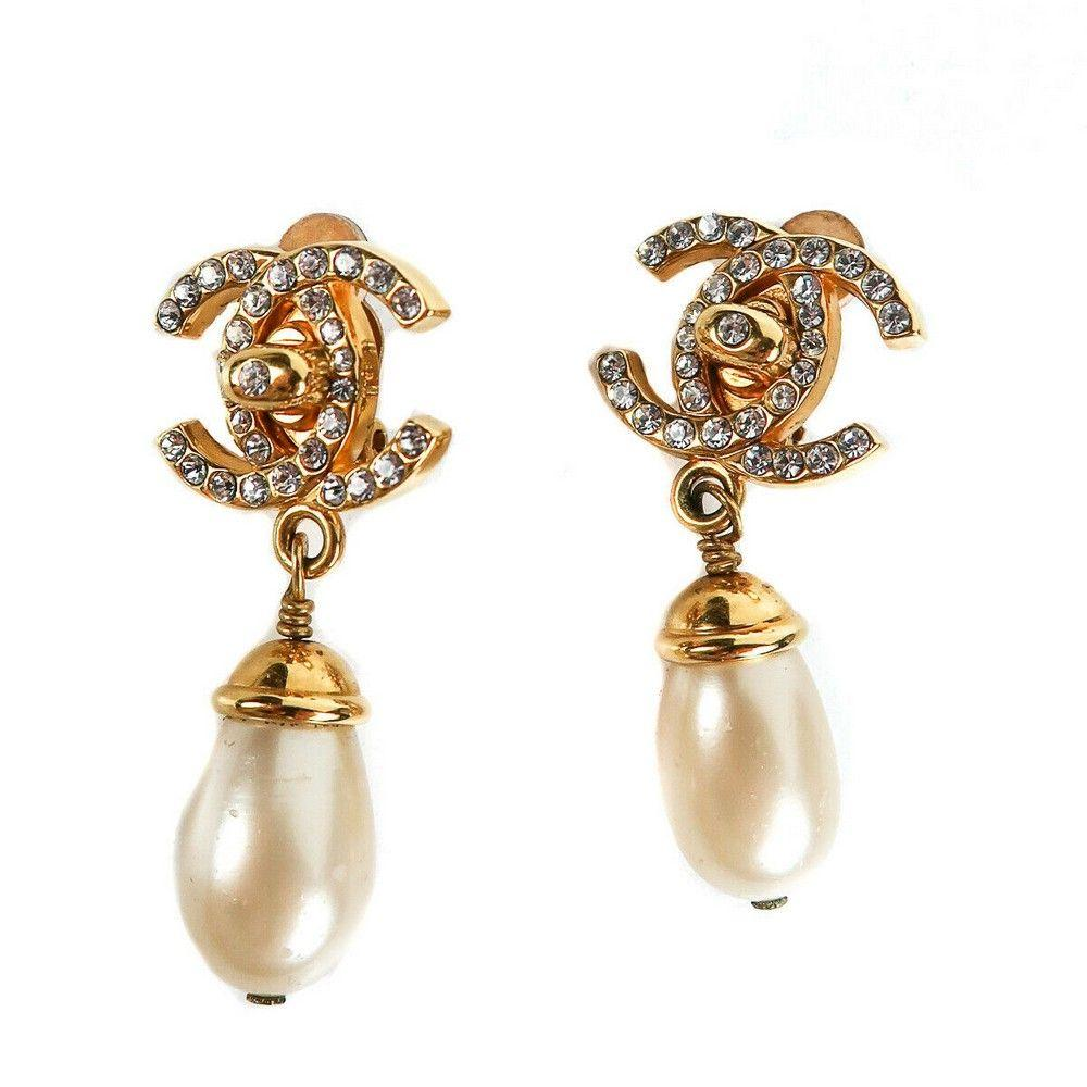 Chanel - Crystal Turnlock Pearl Earrings - Vintage Gold