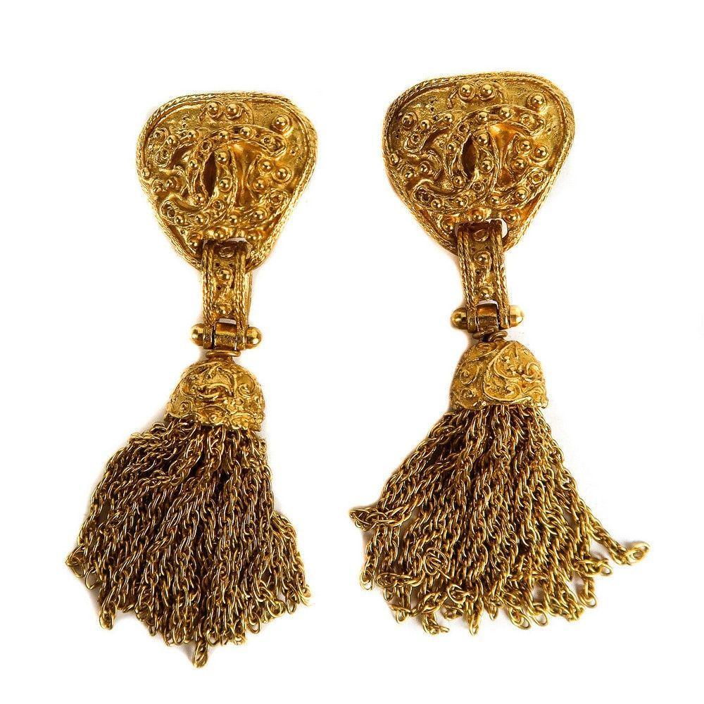Chanel - Chain Tassel CC Earrings - Gold Triangle Logo