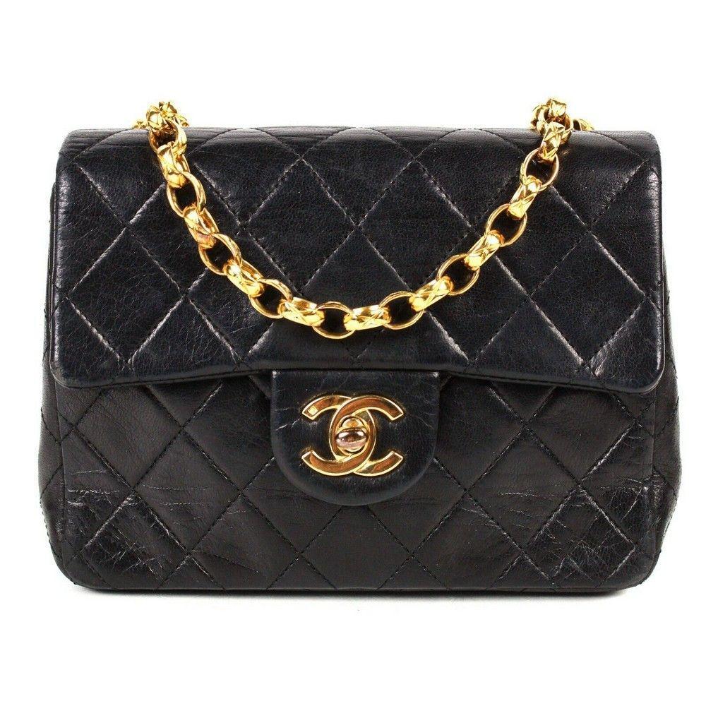 Chanel Mini Black Rare Chain Leather Flap Crossbody Bag