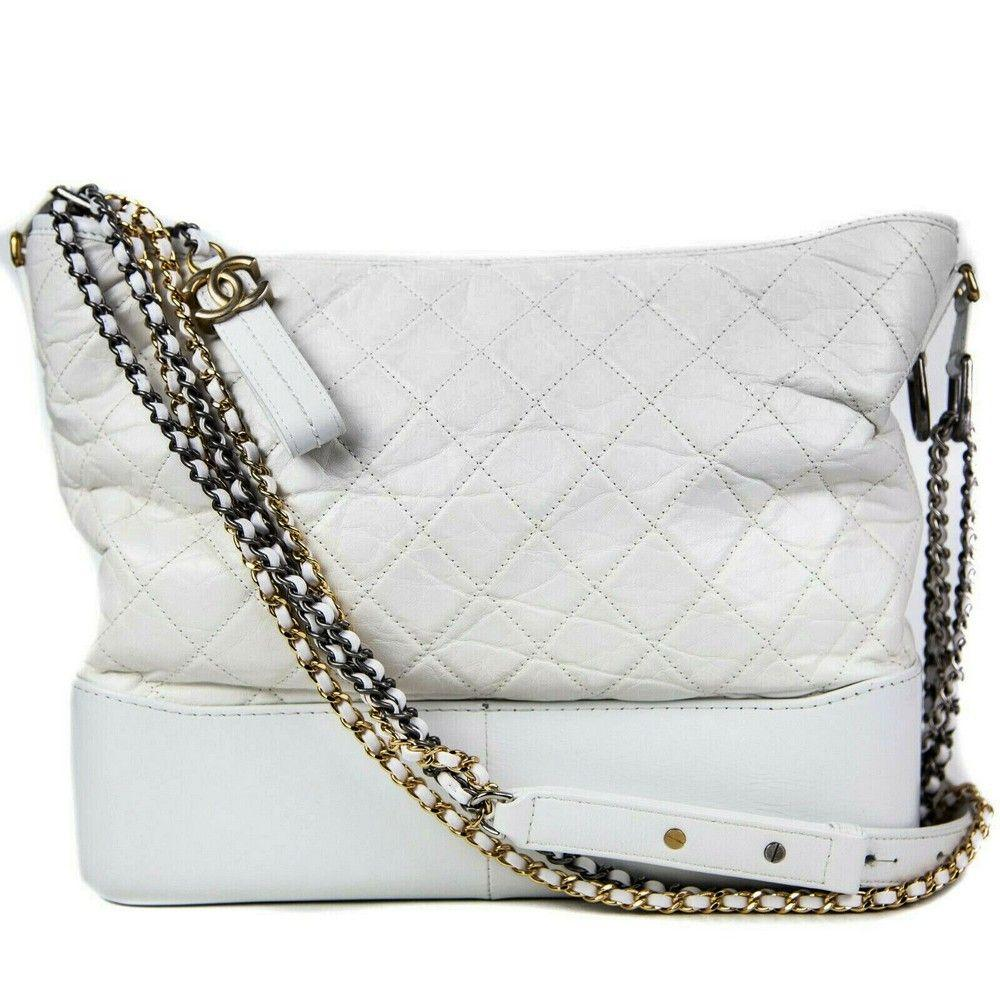 Chanel - Gabrielle Large Bag - White Leather CC Gold