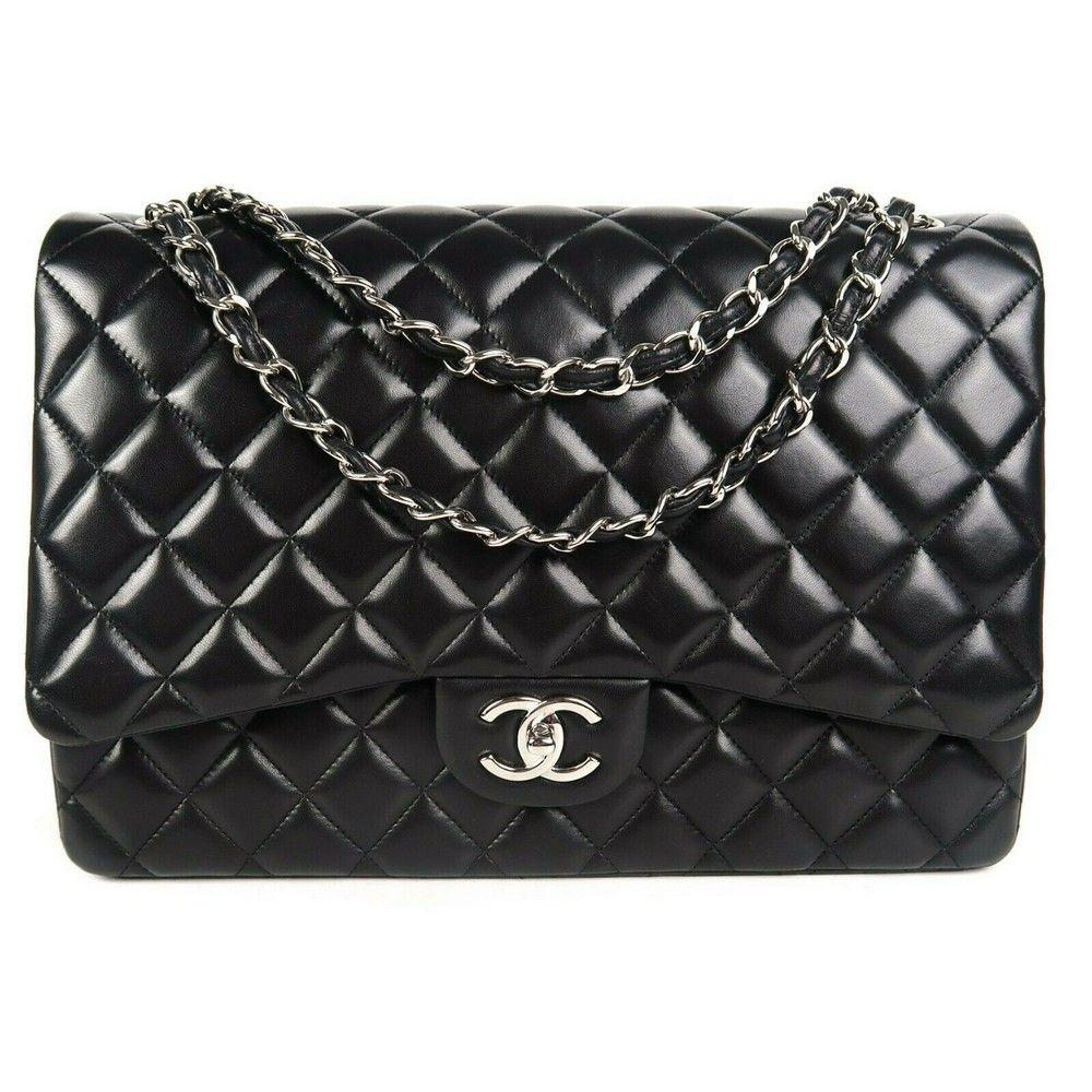 Chanel - Maxi Flap Bag - Black Lambskin Quilted CC