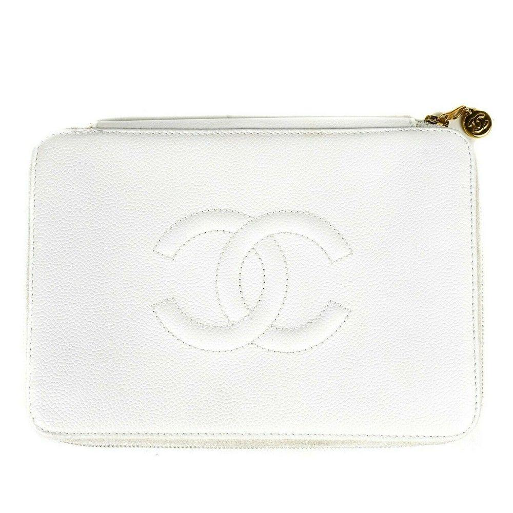 Chanel Caviar Clutch - CC Large White Leather Wallet