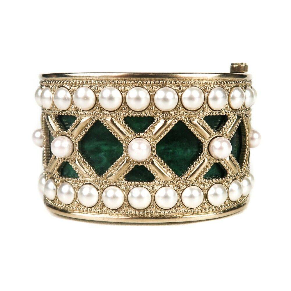 Chanel 2016 Jade Pearl Bracelet - Gold Wide Cuff Green