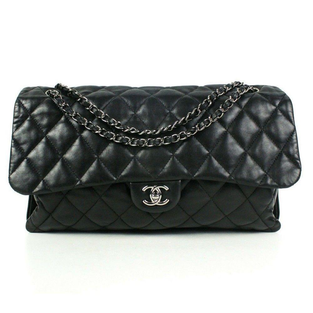 Chanel - Maxi Shoulder Flap Bag Black Quilted Leather