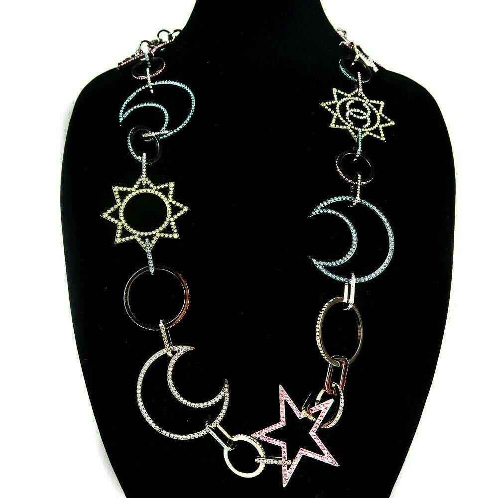 """Chanel 2017 Star Moon Long 40"""" Necklace - Crystal CC"""