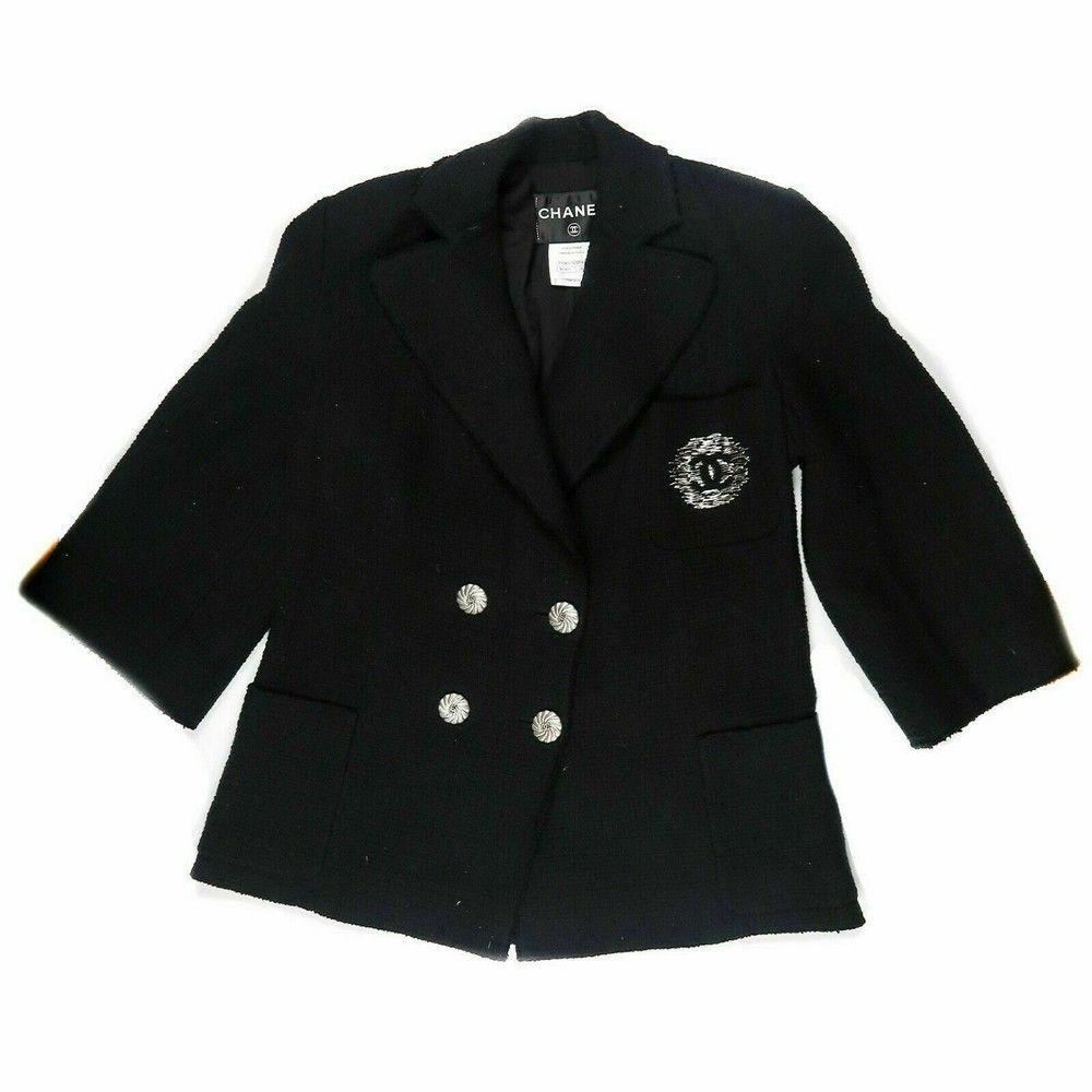 Chanel CC Chest Pocket Blazer Black Tweed Jacket Coat