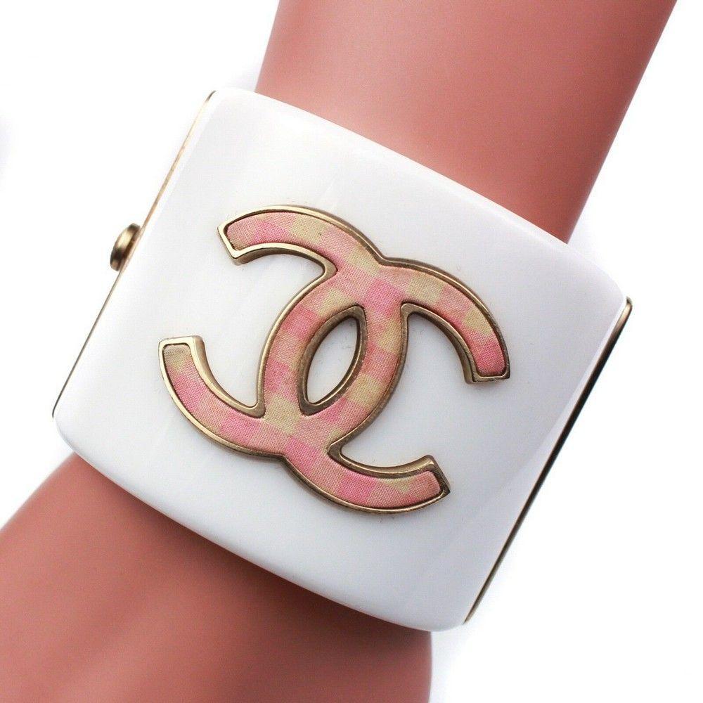 Chanel CC Cuff - White Bracelet - Pink Plaid Logo Wide