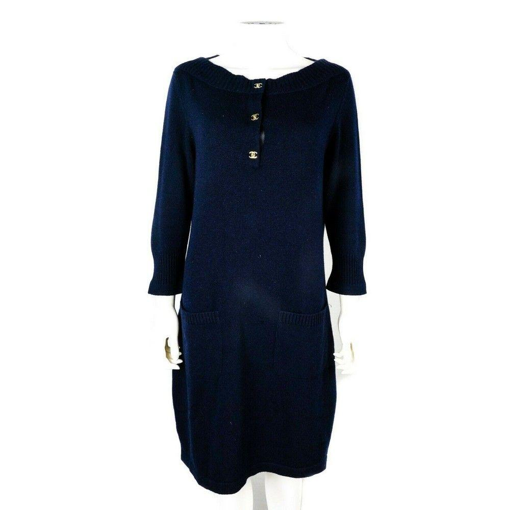 Chanel - Turnlock CC Cashmere Sweater Dress - Navy Blue