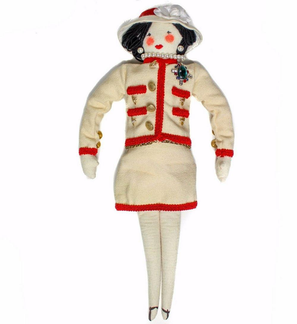 CHANEL DOLL - RARE XL PLUSH FIGURE WOMAN WITH WHITE RED