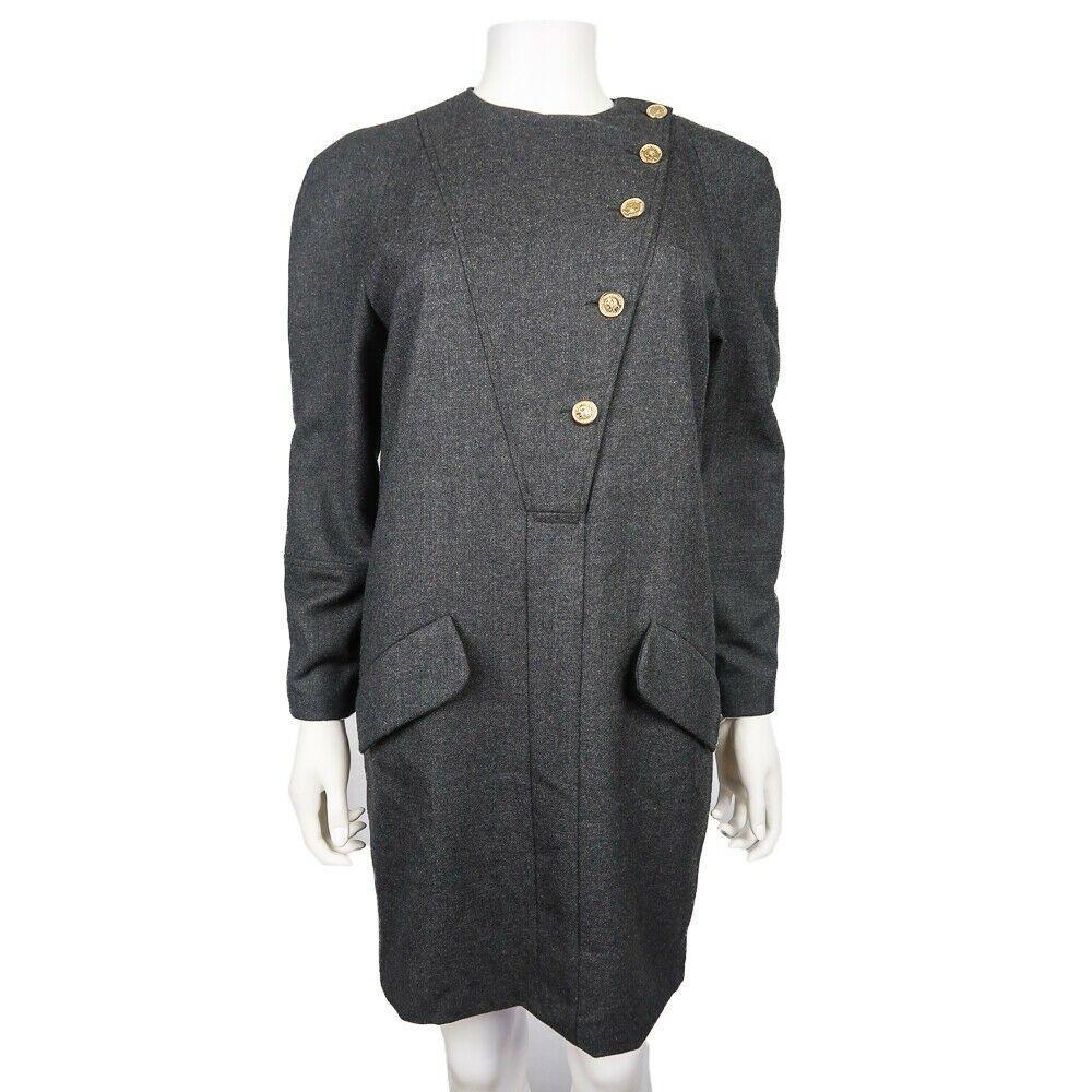 Chanel Dress - Rare Vintage Grey Wool Military Long