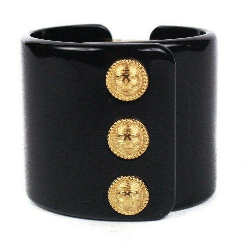 Chanel New 2018 Bracelet Wide Cuff -Black Gold Logo CC