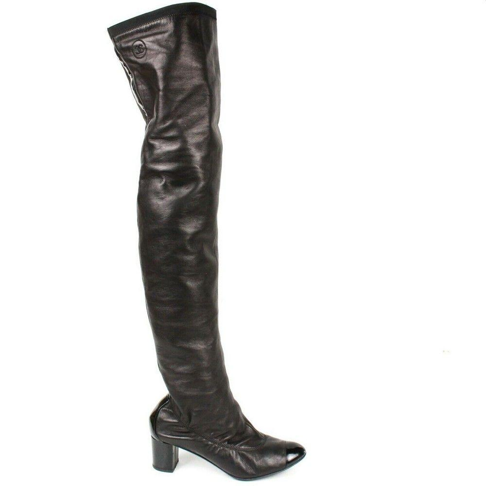 Chanel - Black Leather Knee High Boots - Block Heels -