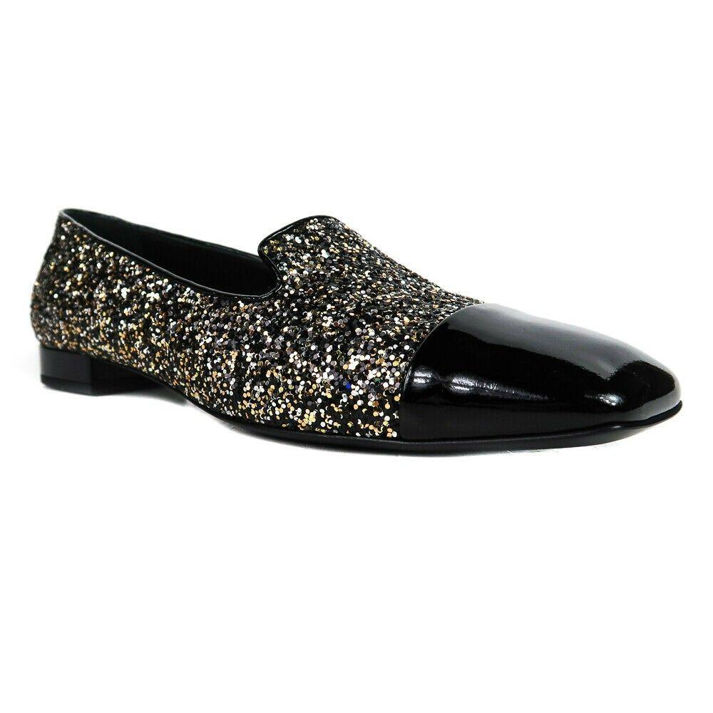 Chanel New Glitter Loafers - Silver Black Patent