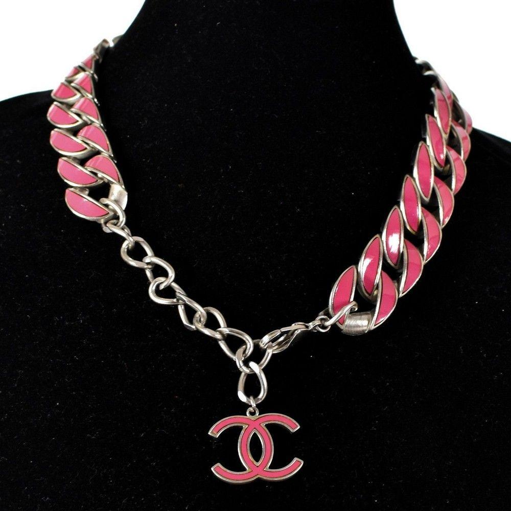 Chanel Pink Curb Chain Necklace - CC Logo Charm Silver