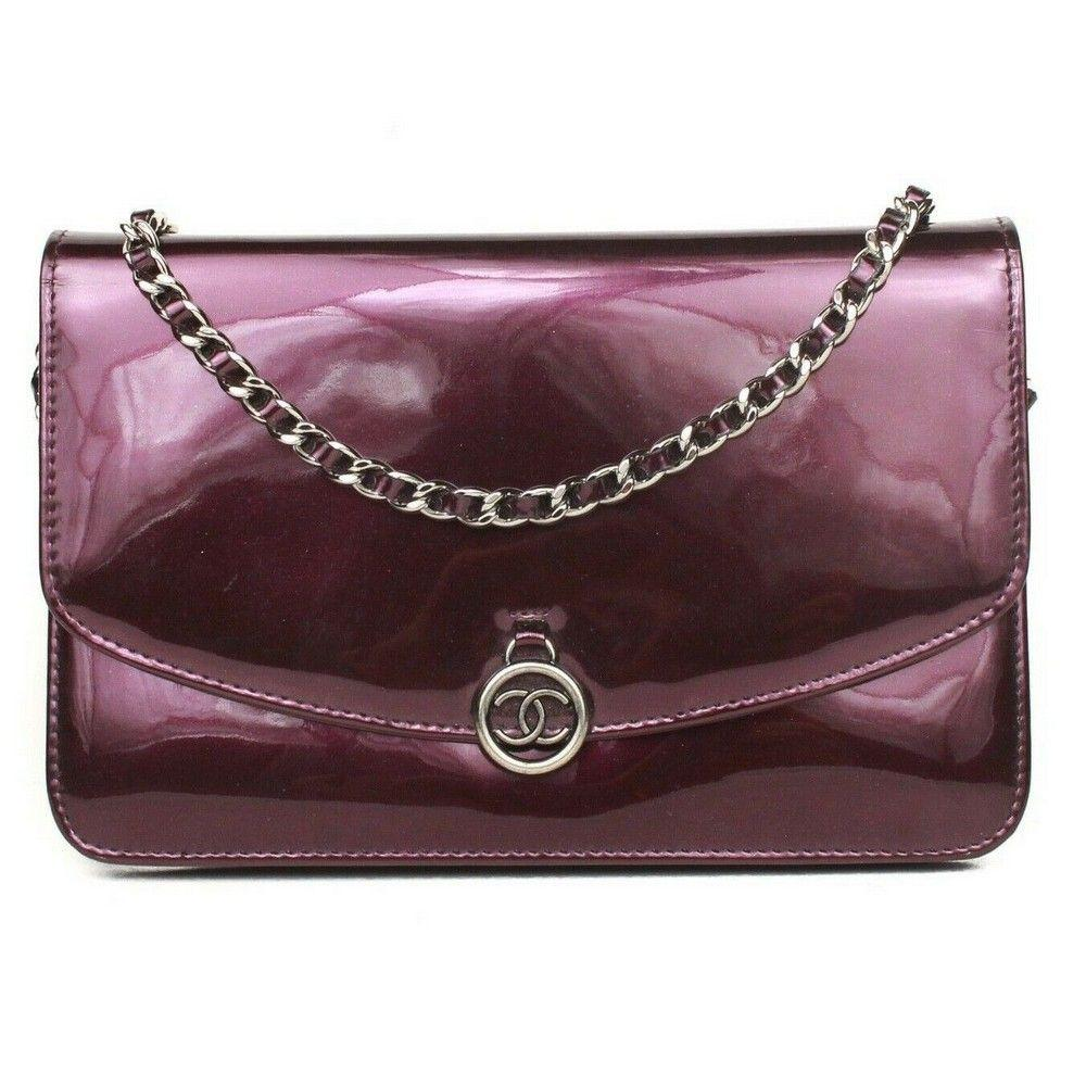 Chanel Wallet on a Chain Crossbody Bag Purple Patent