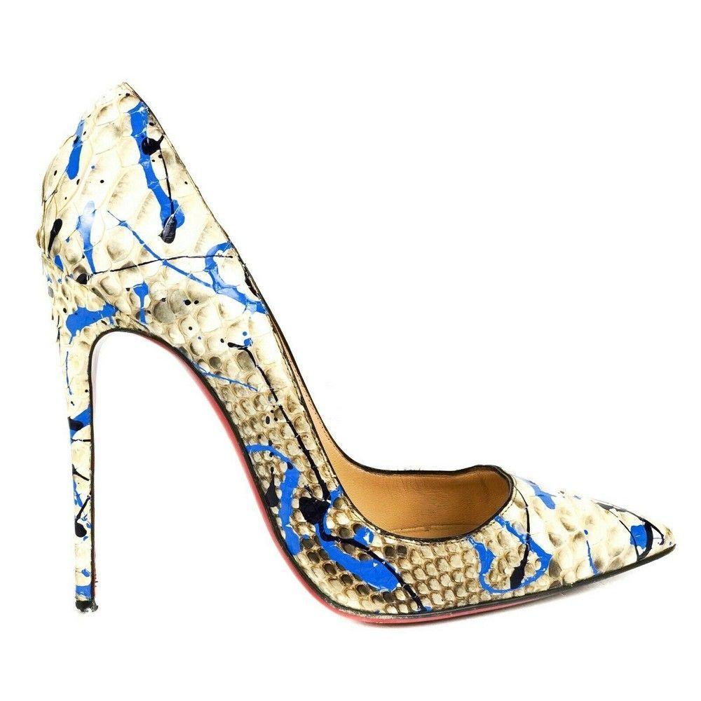 Christian Louboutin Python Paint Splatter Heels - Blue