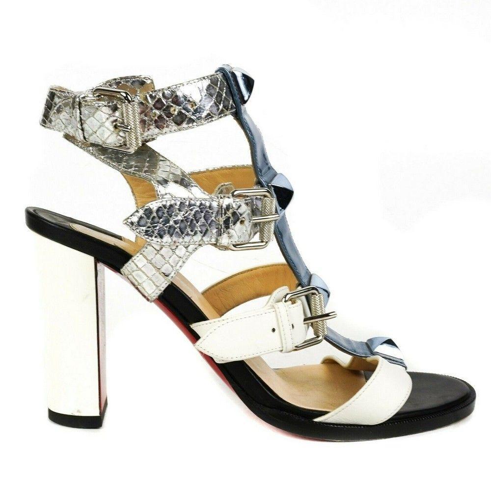 Christian Louboutin - Metallic Strappy Block Heels
