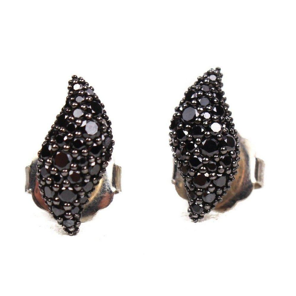 David Yurman - New - Earrings Black Diamond Pave Flute
