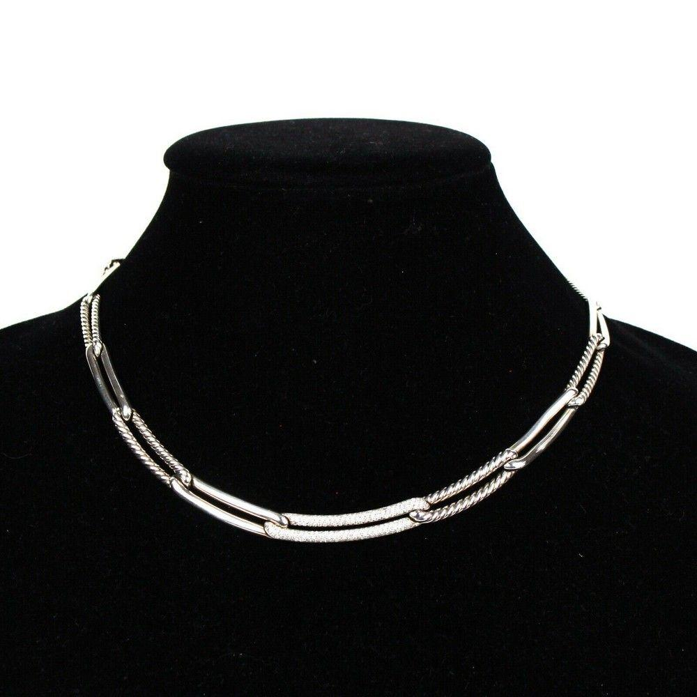 David Yurman Diamond Necklace - New -  4000 - Silver
